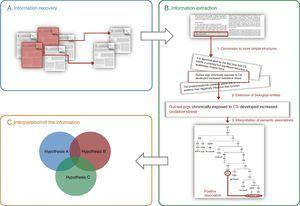 General schematic of the methods used in text and data mining: (A) information recovery, (B) information extraction, (C) interpretation of the information (the integration of various previously corroborated hypotheses can produce a new combined hypothesis). The three steps required for extracting information are shown in panel B: (1) breakdown of the information into basic units (e.g. sentences), (2) identification of biological entities, and (3) interpretation of the relationships between biological entities.