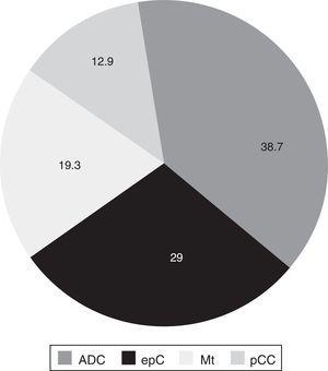 Distribution of lung cancer by histological type, expressed in percentages. ADC, adenocarcinoma; epC, epidermoid cancer; Mt, metastasis; sCC, small cell cancer.
