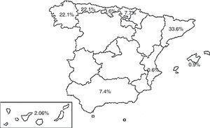 Distribution of cases by autonomous communities.