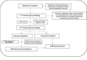 Phases in the development of the consensus document. SRL: systematic review of the literature.