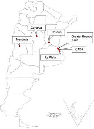 Geographic location of the urban clusters selected for the study. La Plata (9.8 meters above sea level [masl]), Rosario (22.5 masl), Autonomous City of Buenos Aires-CABA (16 masl), Greater Buenos Aires (North Region, 16 masl), Cordoba (106 masl) and Mendoza (746 masl).