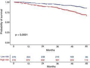 Kaplan–Meier estimates of mortality at 60 months according to GesEPOC guideline risk groups.