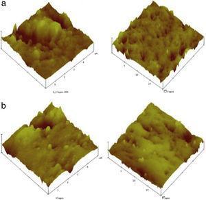 Análise de superfície 3D, à escala de 5 e 20μm, da resina composta Herculite XRV® – (a) esmalte; b) dentina).