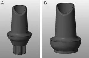 Profile digital design of the Syntesis® abutments for internal connection (Aurea® RP) (A) and external connection (BNT® S4) (B).