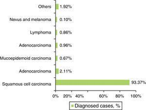 Distribution of the sample by histological type.