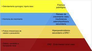 Jerarquización en el manejo del tumor pardo en paciente pediátrico. Esquema de manejo terapéutico del paciente en donde se jerarquizan los problemas&#59; se observa que la base del tratamiento es el control de la enfermedad renal crónica con la diálisis y el trasplante renal&#59; y el puntal del tratamiento será la colocación del injerto óseo. (Elaborado por: Juan Miguel Alemán I. Tomado de: Rosenberg et al.4).