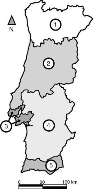 Divisão sub‐regional de Portugal continental (NUTS II): 1) Norte; 2) Centro; 3) Lisboa; 4) Alentejo; e 5) Algarve.