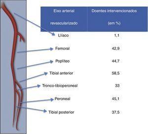 Distribuição dos procedimentos de revascularização realizados, por eixo arterial tratado.
