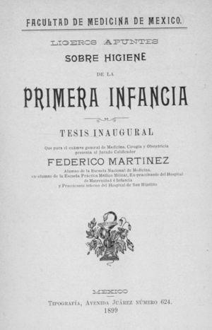 Portada de la tesis inaugural de Federico Martínez, expracticante del Hospital de Maternidad e Infancia, 1899.
