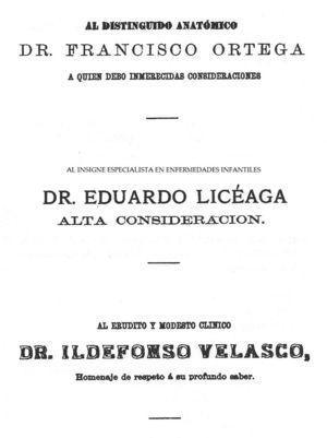 Dedicatoria de la tesis inaugural de Mariano Herrera y Jayme al Dr. Eduardo Liceaga, insigne especialista en enfermedades infantiles, 188115.