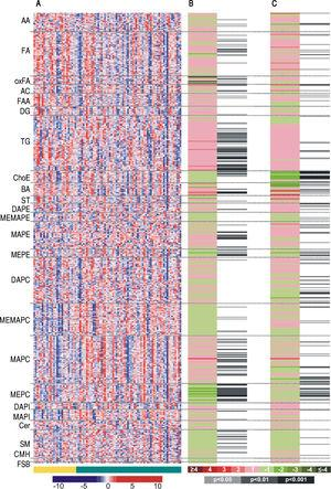 Heatmaps of (A) the entire metabolic profile of patients with alcoholic hepatitis (AH) and decompensated alcoholic cirrhosis (DC). Each data point corresponds to the relative ion abundance of a given metabolite (vertical axis; ordered by metabolite chemical group and according to their carbon number and unsaturation degree of their acyl chains) in an individual patient's (horizontal axis; ordered by disease: yellow, DC; green, AH) serum extract. The scale indicates for each metabolite, its relative ion abundance in the serum extract of a given subject with respect to that found in the rest of the study population, as represented by the 10th-100th percentiles; (B) the differences between AH and decompensated alcoholic cirrhosis; (C) the differences in patients with AH according to 90-day survival. The log2 transformed ion abundance ratios (colors from green to red show drops or elevations of the metabolite levels in AH patients or severe-AH, respectively) and unpaired Student's t-test (or Welch's t test where unequal variances were found) p-values (grey lines correspond to significant fold changes of individual metabolites) per metabolite are displayed for both comparisons. AA: amino acids. FA: fatty acids. oxFA: oxidized FA. AC: acylcarnitines. FAA: primary fatty amides. DG: diacylglycerols. TG: triacylglycerols. ChoE: cholesteryl esters. BA: bile acids. ST: steroids. DAPE: diacyl-phosphatidylethanolamines (PE). MEMAPE: monoacyl:monoether-PE. MAPE: monoacyl-PE. MEPE: monoether-PE. DAPC: diacyl-phosphatidylcholines (PC). MEMAPC: monoacyl:monoether-PC. MAPC: monoacyl-PC. MEPC: monoether-PC. DAPI: diacyl-phosphatidylinositols (PI). MAPI: monoacyl-phosphatidylinositols. Cer: ceramides. SM: sphingomyelins. CMH: monohexosylceramides. FSB: free sphingoid bases.