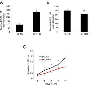 Upregulating LINC01189 reduced proliferation in HCV-infected HepG2 cells. (A) HCV-infected HepG2 cells were transfected with a LINC01189 overexpressing vector, pc_1189 or a non-specific overexpression vector, pc_NS. Relative LINC01189 expressions were detected by qRT-PCR (* P<0.05). (B) HCV-infected HepG2 cells were transfected with a siRNA specifically targeting human LINC01189, si_1189 or a non-specific lncRNA siRNA, si_NS. After that, relative LINC01189 expressions were detected by qRT-PCR (Δ P>0.05). (C) CCK-8 assay was conducted to compare proliferation in HCV-infected HepG2 cells transfected with pc_1189 and those transfected with pc_NS (* P<0.05).