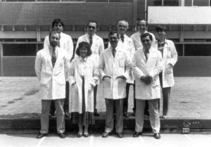 Staff members of the Gastroenterology Department, Salvador Zubirán, National Institute of Nutrition (circa 1990). Upper line from left to right: Dr. Miguel Angel Valdovinos, Dr. Misael Uribe, Dr. Jose de Jesus Villalobos, Dr. David Kershenovich, Dr. Florencia Vargas.†Lower line from left to right: Dr. Mauricio Lisker, Dr. Guadalupe Garcia Tsao, Dr. Luis Uscanga, Dr. Arturo Panduro. (Photo courtesy of Dr. Arturo Panduro).