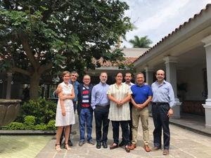 Annals of Hepatology´s Editorial Board Meeting (Cuernavaca, Morelos, 2018). Left to right: Dr. Giota Panopoulou, Dr. Claudio Tiribelli, Dr. Misael Uribe, Dr. Marco Arrese, Varinia B. Chacón, Dr. Norberto Chávez, Dr. Arturo Panduro and Dr. Eduardo González. (Photo courtesy of Dr. Misael Uribe.