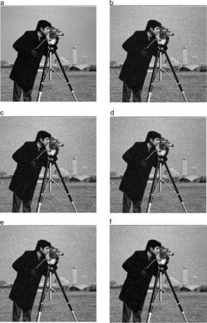 Grayscale image of cameraman for visual perception: (a) original image, (b) image with Gaussian noise σ=25, (c) Gaussian smoothing filter, (d) AFD filter. (e) AFI filter, (f) proposed FDZP 2D filter.
