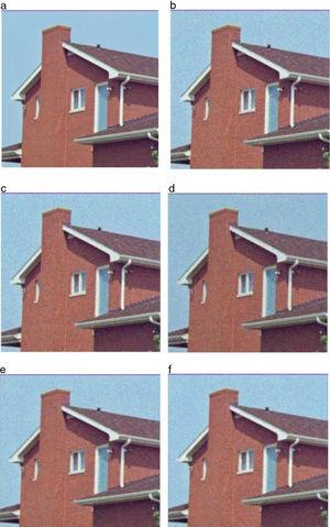 Color image of house for visual perception: (a) original image, (b) image with Gaussian noise σ=25, (c) Gaussian smoothing filter, (d) AFD filter, (e) AFI filter, (f) proposed FDZP 2D filter.