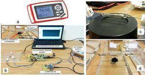 Thorlabs light energy meter model PM100D (a), realized setup used to carry out the ignition tests (b), pyroelectric sensor model ES145C with Xenon lamp positioned above at a distance of 4mm (c) and Xe lamp on the sample at the same distance (d).