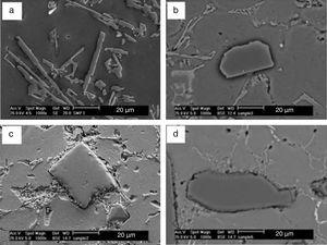 SEM micrographs showing the size of interdendritic eutectic silicon in (a) A356 alloy and MMCs containing, (b) 10, (c) 20, (d) 25wt% SiCp.
