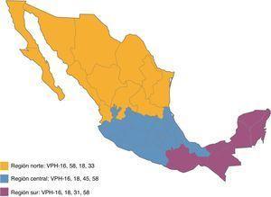 Distribución geográfica de los tipos de VPH en México.
