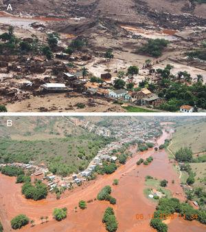 Buildings affected by the Fundão tailings dam: (A) District of Bento Rodrigues, Mariana and (B) Urban area of the municipality of Barra Longa.