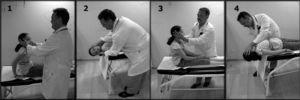 Maniobra de Dix-Hallpike: 1. Se sitúa al paciente sentado en la camilla y se gira la cabeza a un lado unos 45°. 2. Se tumba rápidamente hacia atrás hasta situarlo en decúbito supino con la cabeza colgando unos 20°, manteniendo esta posición al menos 40s y observando la aparición de nistagmo. 3. Sentamos al paciente observando la inversión del nistagmo. 4. Repetimos la maniobra hacia el lado contrario.
