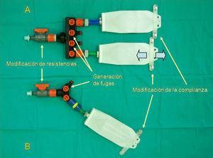Simulador de pulmón completo. A) montaje doble, B) montaje simple.