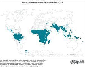 Países con áreas de riesgo de transmisión de malaria. Fuente: WHO, 2011.