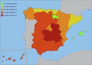 Mapa de incidencia de DM1 por comunidades autónomas.