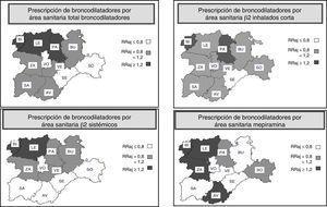 Mapas con información sobre variabilidad geográfica en el uso de los principales broncodilatadores en las áreas sanitarias de Castilla y León (2005-2010). RRaj: razón de tasas ajustadas por edad de cada área sanitaria, respecto a la media de las áreas de Castilla y León.