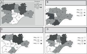 Mapas con información sobre variabilidad geográfica en el uso de los principales antiasmáticos de la terapia de mantenimiento en las áreas de Castilla y León (2005-2010). A) Mapa que muestra la prevalencia de asma en las áreas de Castilla y León. B) Prescripción de terapia de mantenimiento por área sanitaria antileucotrienos. C) Prescripción de terapia de mantenimiento por área sanitaria CI monofármaco. D) Prescripción de terapia de mantenimiento por área sanitaria β2 en asociación. RRaj: razón de tasas ajustadas por edad de cada área sanitaria, respecto a la media de las áreas de Castilla y León.