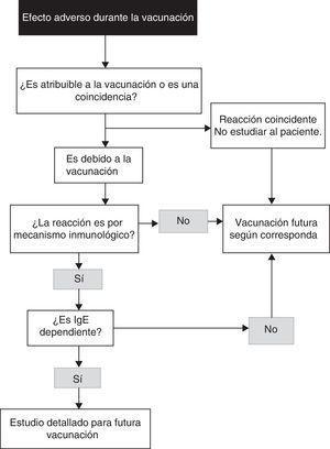 Algoritmo para la identificación de una reacción alérgica a vacunas (modificado de Kelso et al.7).
