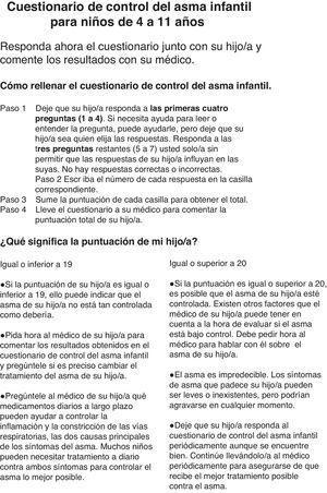 Cuestionario c-ACT (de 4 a 11 años).