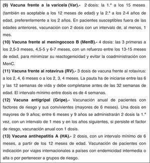 Calendario de vacunaciones de la Asociación Española de Pediatría 2016. Recomendaciones del Comité Asesor de Vacunas.