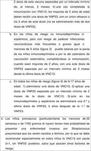 Recomendaciones de vacunación antineumocócica.