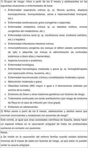 Recomendaciones del CAV-AEP de vacunación antigripal 2015-2016 (con vacunas inactivadas trivalentes)37.