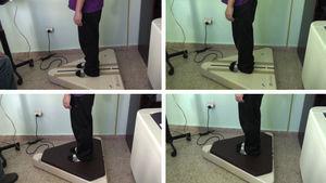 Análisis del equilibrio estático con los pies separados y pies juntos sin foam; y pies separados y pies juntos con foam en la plataforma de fuerza Metitur Good Balance.