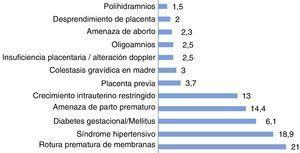 Diagnósticos más frecuentes de patología gestacional (%).