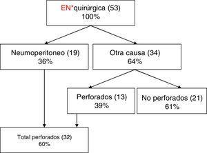 Causas de indicación quirúrgica en recién nacidos con enterocolitis necrosante. Entre paréntesis, el número de niños.EN: enterocolitis necrosante.