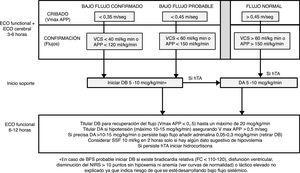 Protocolo de cribado y tratamiento del bajo flujo sistémico y soporte hemodinámico en el periodo transicional en prematuros <30 semanas. DA: dopamina&#59; DB: dobutamina&#59; hTA: hipotensión arterial&#59; SSF: suero salino fisiológico.