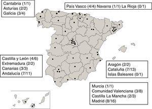 Localización de las Unidades de Cuidados Intensivos Neonatales (UCIN) participantes en el sistema de vigilancia español NeoKissEs. Las cifras entre paréntesis corresponden a (número de UCIN reclutadas/número de UCIN invitadas a participar) en cada comunidad autónoma.