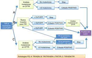 Protocolos de actuación en el diagnóstico por cribado neonatal de la fibrosis quística propuestos en la European best practice guidelines for cystic fibrosis neonatal screening7 y que se realizan en España.