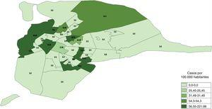Distribución por quintiles de los subdistritos de la ciudad de Sevilla según sus tasas de incidencia de tuberculosis en menores de 15 años desde el año 2013 al 2015. Elaboración propia mediante el programa gvSIG, con datos de la población menor de 15 años del año 2013 para el cálculo de la tasa de incidencia de tuberculosis en el periodo de 3 años.