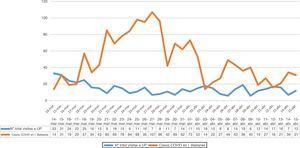 Comparación del número total de visitas a UP diarias con respecto a casos COVID-19 en la comunidad autónoma de las Islas Baleares.