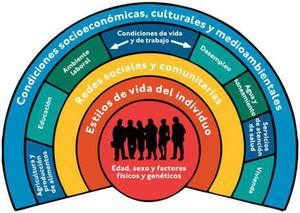 Modelo de determinantes sociales de la salud de la OMS. Fuente: OMS.