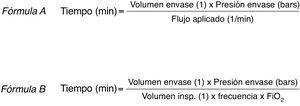 Cálculo de la autonomía de gases medicinales en transporte. Fórmula A (tiempo en minutos de autonomía del gas medicinal aplicando flujo constante con caudalímetro). Fórmula B (tiempo en minutos de autonomía en paciente conectado a ventilación mecánica). FiO2: fracción inspirada de oxígeno; Volumen insp.: volumen inspiratorio.