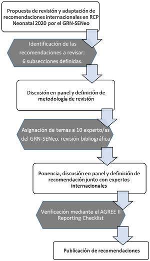 Diagrama de flujo de la metodología usada en la revisión y adaptación de las recomendaciones internacionales en RCP neonatal por el GRN-SENeo5.