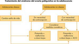 Tratamiento del síndrome del ovario poliquístico. ACO: anticonceptivos orales.