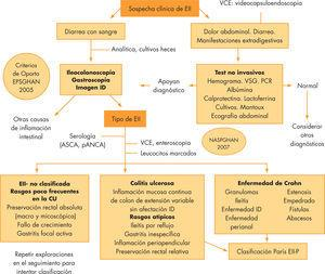 Esquema diagnóstico de la enfermedad inflamatoria intestinal en pediatría, basado en los Criterios de Oporto y de la NASPGHAN10,11. CU: colitis ulcerosa; EII-P: enfermedad inflamatoria intestinal pediátrica; ID: intestino delgado; PCR: proteína C reactiva; VSG: velocidad de sedimentación globular.