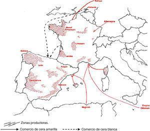 Producción y comercio marítimo e internacional de la cera hacia 1800. Fuente: Elaboración propia.