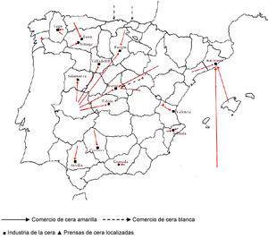 Industria y comercio de la cera en España hacia 1800. Fuente: Elaboración propia.